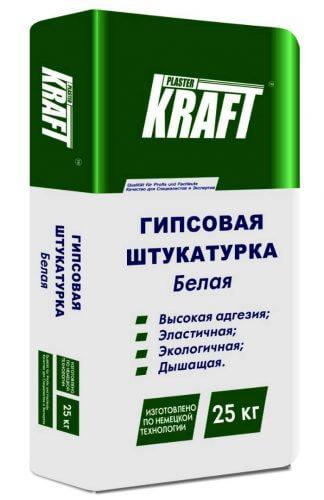 """Штукатурка гипсовая белая """"KRAFT"""" Гипсовка (25кг)"""