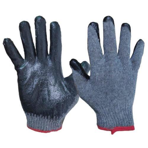 Перчатки серо-черные облитые
