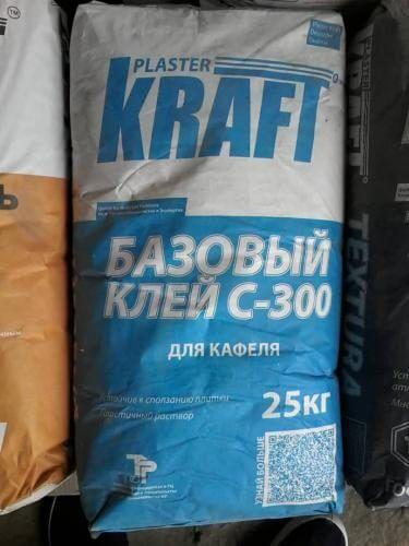 """Клей плиточный базовый """"KRAFT"""" С-300 (25кг)"""